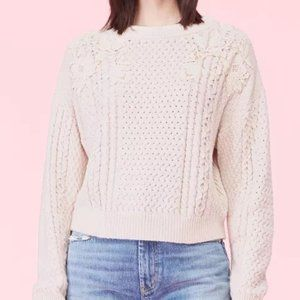 REBECCA TAYLOR Lace Applique Cable Knit Sweater